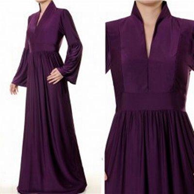 Mandarin Vneck Collar Maxi Dress