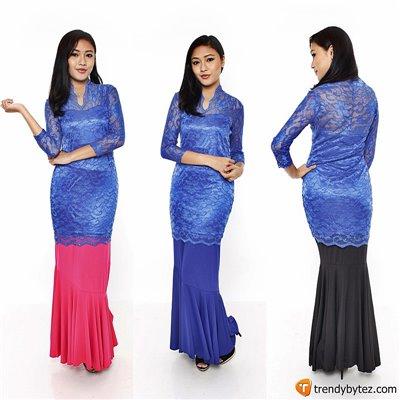 Vneck scalloped lace set - Blue