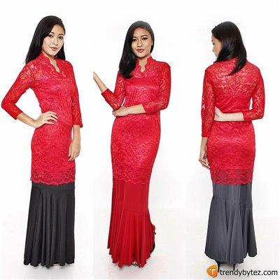 Vneck scalloped lace set - Red