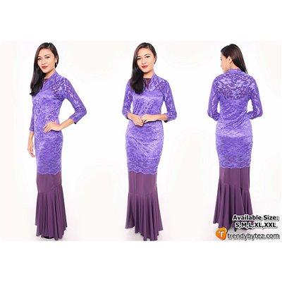 Vneck scalloped lace set - Purple