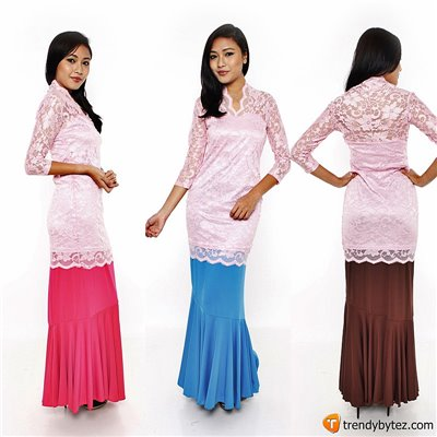 Vneck scalloped lace set - Light Pink