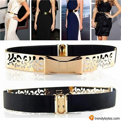 Vintage Gold Metal Plated Skinny Hollow Bowknot Belt