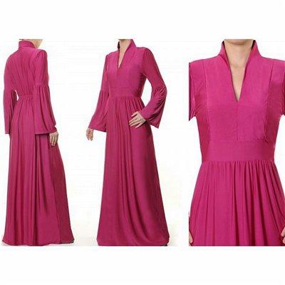 Mandarin Vneck Collar Plus Maxi Dress