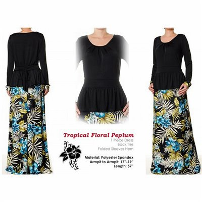 Tropical Floral Peplum Maxi Dress
