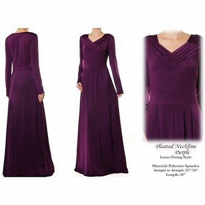 Pleated Neckline Plus Maxi Dress