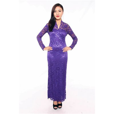 Vneck Scalloped Lace Maxi Dress - Purple