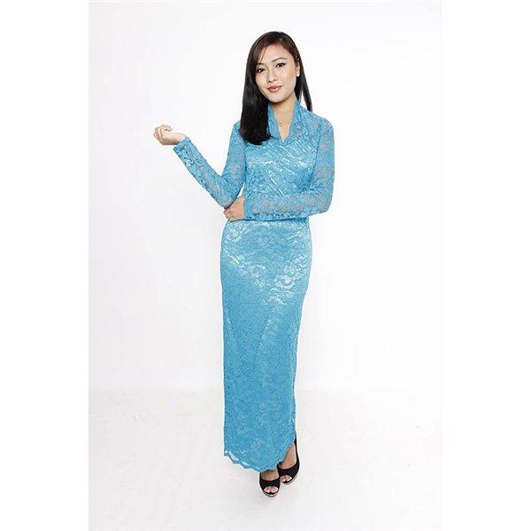 Vneck Scalloped Lace Maxi Dress - Turqoise