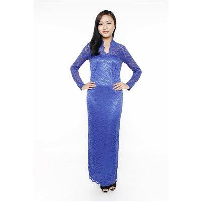 Vneck Scalloped Lace Maxi Dress - Blue