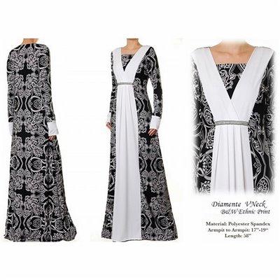 Vneck Diamente BW Ethnic Print Maxi Dress