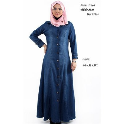 Front Button Denim Plus Maxi Dress