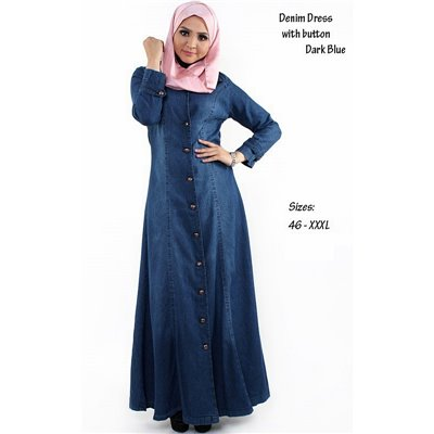 Front Button Denim Extra Plus Maxi Dress - 46