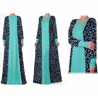 Patchwork Printed/Plain Abaya Maxi Dress