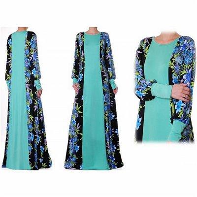 Patchwork Printed/Plain Abaya Plus Maxi Dress