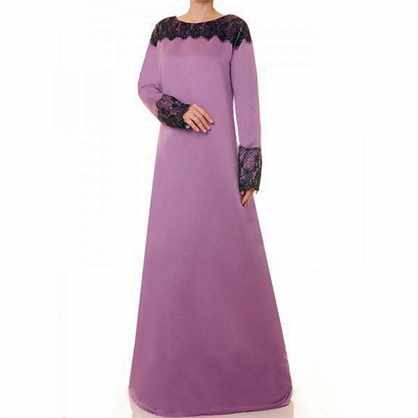 Round Neck W Black Lace Accent Bridal Satin Maxi Dress