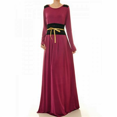 Round Neck W Lace Trim Accent Plus Maxi Dress