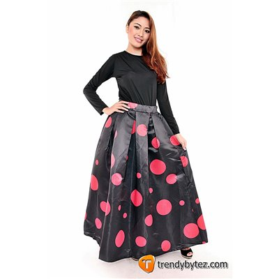 Red Dots Maxi Skirt