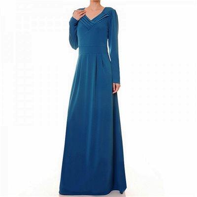 Pleated V Neckline Maxi Dress