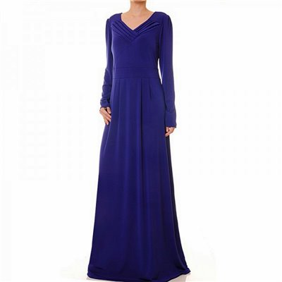 Pleated V Neckline Maxi Dress