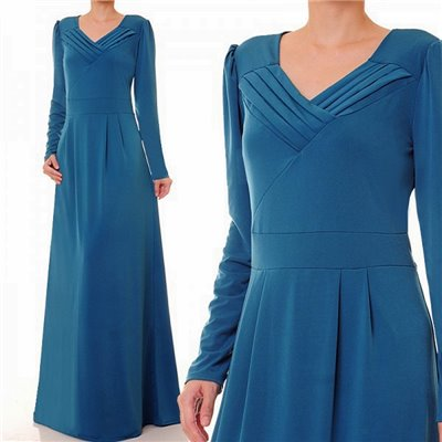 Pleated V Neckline Plus Maxi Dress