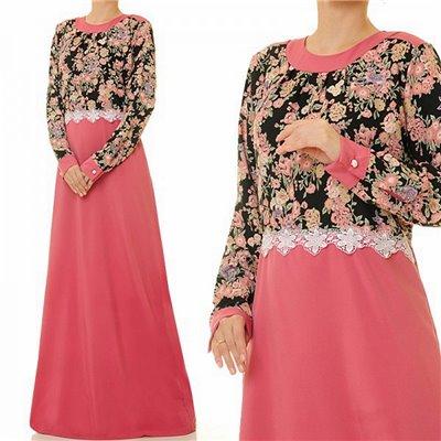 2 Tone Floral Plus Maxi Dress