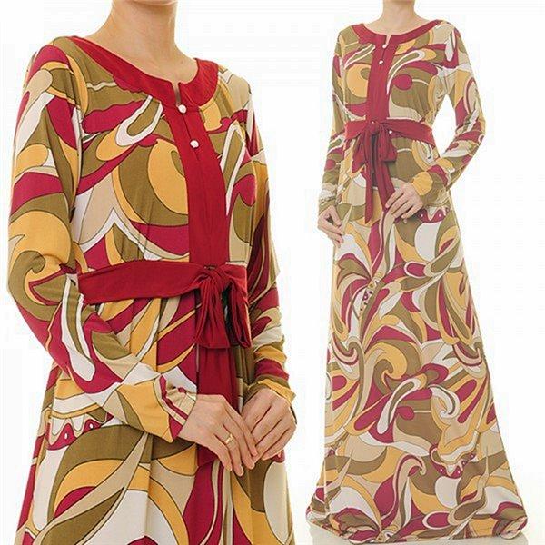 Round V Slit Maxi Dress