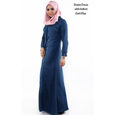 Front Button Denim Extra Plus Maxi Dress - 48
