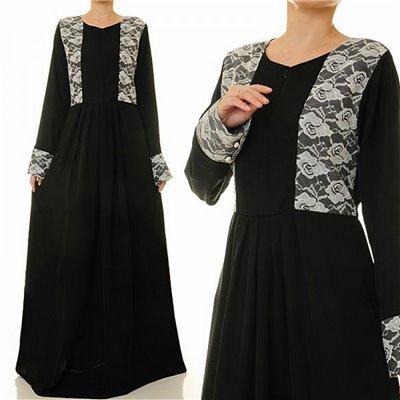 Round Neckline W Front Zip Maxi Dress