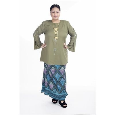 Rhinestone Printed Songket Plus Size Set