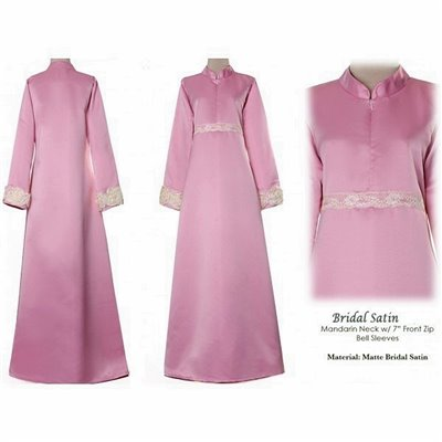 Mandarin Collar Bridal Satin Dress