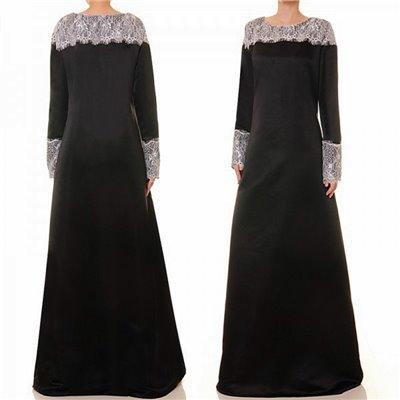 Lace Trim Matte Satin Dress