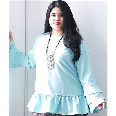 Bottom Ruffled Layered Sleeve Plus Size Top