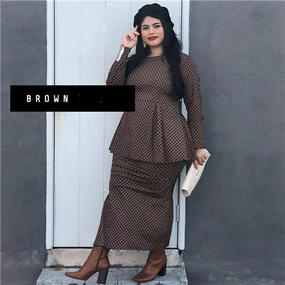 Peplum Modern Kurung Set - Brown