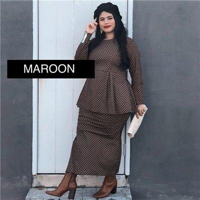 Peplum Modern Kurung Set - Maroon