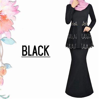 Lace Kurung - Black