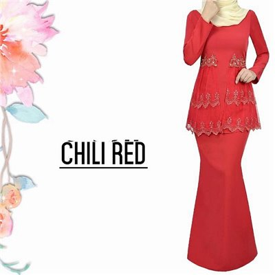 Lace Kurung - Red