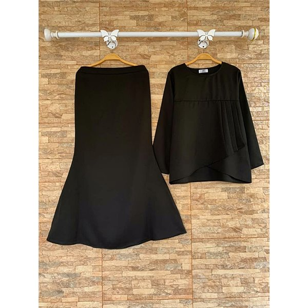 Plain Peplum Kurung Set - Black