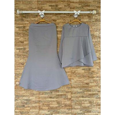 Plain Peplum Kurung Set - Grey