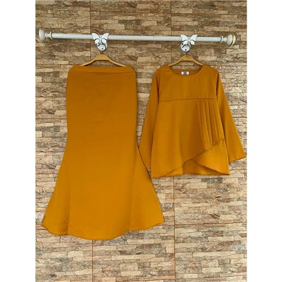 Plain Peplum Kurung Set - Mustard Yellow