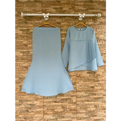 Plain Peplum Kurung Set - Baby Blue