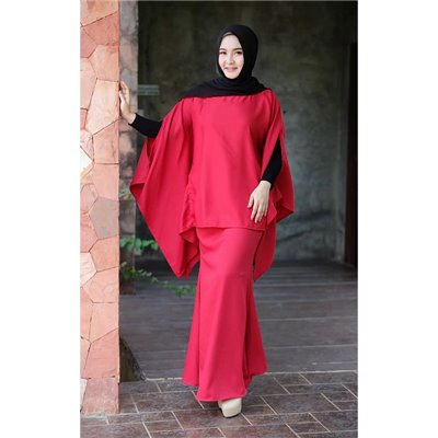 Plain Batwing Kurung Set - Candy Red