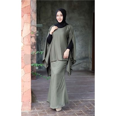 Plain Batwing Kurung Set - Olive Green