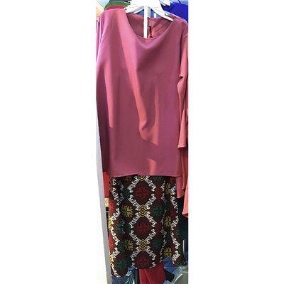 Girls Fishtail & Batik Kurung Set - Rose Pink