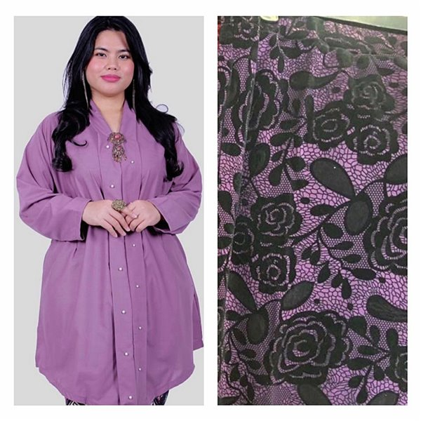 Kebarung With Lace Skirt - Purple