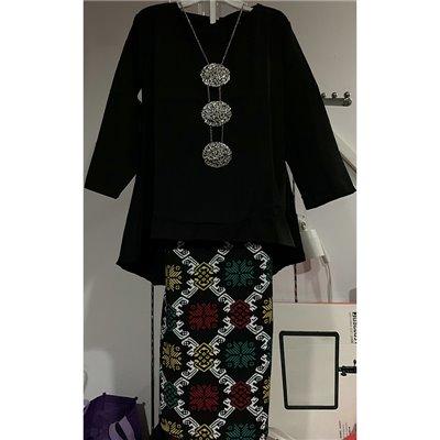 Girls Fishtail & Batik Kurung Set - Black
