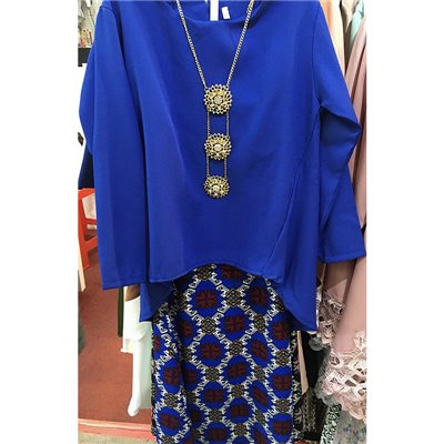 Girls Fishtail & Batik Kurung Set - Royal Blue